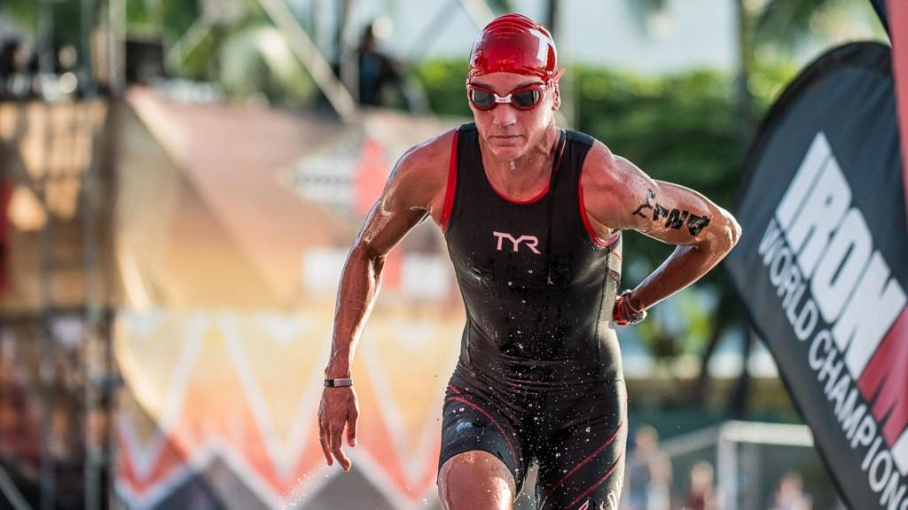 Amanda Stevens Swim Exit - Ironman 2014 World Championship