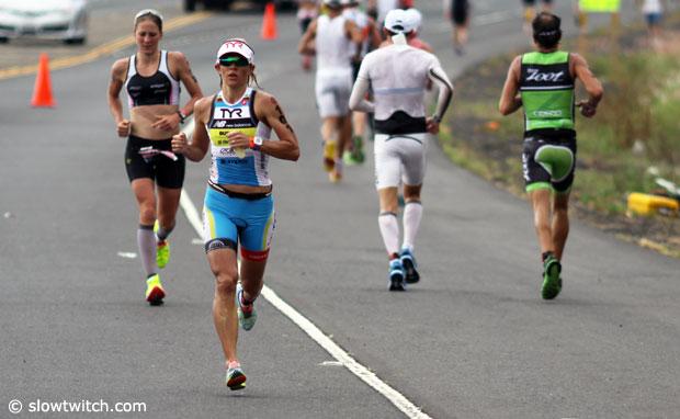 Mirinda Carfrae passes Daniela Ryf - Ironman 2014 World Championship
